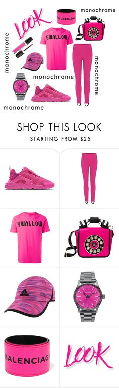 """Hot Pinky"" by midnightjoy ❤ liked on Polyvore featuring NIKE, Balenciaga, McQ by Alexander McQueen, Betsey Johnson, adidas, Nixon, NYX and Marc Jacobs"