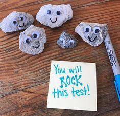 Rock this test! Easy testing encouragement idea! Love the pet rocks for students to keep in or on their desks as a reminder from their teacher that they will do great on state testing.
