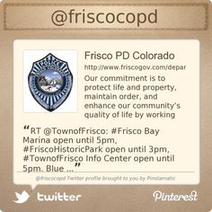 The Frisco Police Department is on Twitter @friscocopd's Twitter profile courtesy of @Pinstamatic (http://pinstamatic.com)