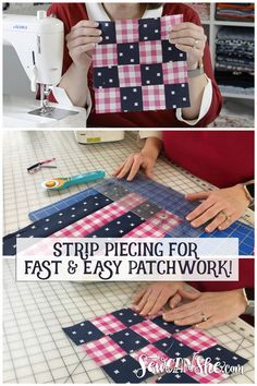 Sew Patchwork Blocks with Strip Piecing! {how to video} | She Sews! | Bloglovin'