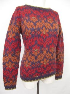 DALE OF NORWAY Exclusive Nordic Handknitted Sweater Colorful Floral Fair Isle
