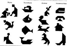 """The tangram literally """"seven boards of skill"""") is a dissection puzzle consisting of seven flat shapes, called tans, which are put together to form shapes. The objective of the puzzle is to form a specific shape (given only an outline or silhouette) using all seven pieces, which may not overlap."""