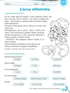 luni e tuni Italian Grammar, Italian Words, Italian Language, Kindergarten Lessons, Kindergarten Reading, Italian Lessons, Reading Practice, Reading Worksheets, Learning Italian