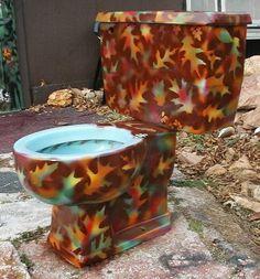 Autumnal Toilet | 24 Totally Bizarre Decorated Toilets