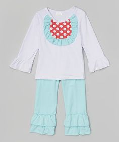 Love this White & Blue Ruffle Top & Pants - Toddler & Girls on #zulily! #zulilyfinds