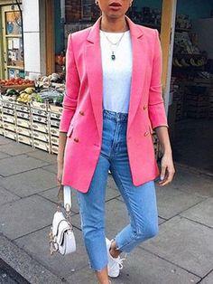 Women plain turn down collar long sleeve button blazers - ClothingI Blazer Outfits For Women, Black Dress Outfits, Blazers For Women, Casual Outfits, Dress With Blazer, Casual Blazer Women, Buckle Outfits, Pink Outfits, Fall Outfits