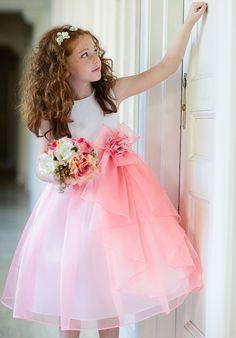 Pink & White Flower Girl Dress