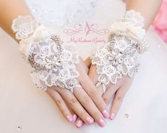 French Lace Gloves, Bridal Gloves, Luxurious Pearl Wedding Gloves, Lace Floral Rhinestone Fingerless Gloves, Wedding Accessory BG0002