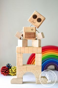 Paul Bunyan Block Bot child kid hipster one of a kind toy | wood ...