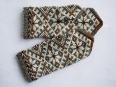 High quality hand knitted warm wool mittens , gloves patterned Brown and white flowers via Etsy.