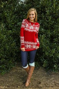 Holiday Sweater, Jeans, Tall Socks, and Boots! So perfect for a casual holiday gathering.
