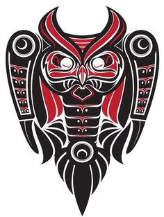 the OwL totem Haida Kunst, Arte Haida, Haida Art, Native American Design, Native Design, Native Tattoos, Tribal Tattoos, Native Indian, Native Art