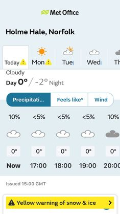 Weather forecast for Holme Hale, Norfolk from the Met Office weather app. Today: Cloudy, a day high of 0°C, night low of -2°C. App available to download on Android or iOS.