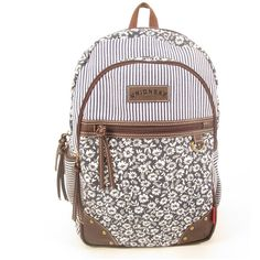 Unionbay Floral Stripe Backpack ($29) ❤ liked on Polyvore featuring bags, backpacks, floral backpack, floral bag, backpack bag, striped backpack and floral rucksack