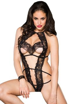 One-piece tulip lace teddy with open cups and strappy elastic g-string back. This stretch lace peek-a-boo teddy with string detail is ultra-sexy and features half-open cups, an open crotch, a string style back and daring open back.