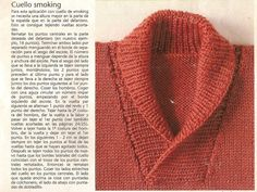 con esta explicación no podés decir que ahora no te sale el cuello smoking. Knitted Baby Cardigan, Toddler Sweater, Knit Baby Sweaters, Knitted Shawls, Mens Shawl Collar Sweater, Baby Boy Knitting Patterns, Collar Pattern, Knit Fashion, Crochet