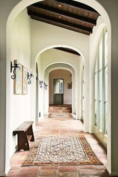 modern global style - rough terra cotta tiling.