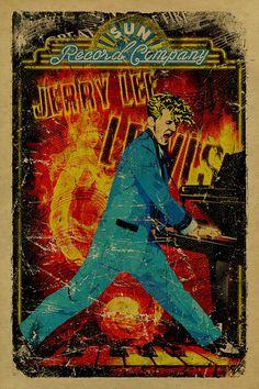 Jerry Lee Lewis poster. 12x18. Killer. Rock. Roll. Sun Records. Memphis. TN. Million Dollar Quartet. Music. Kraft paper. Art.