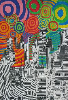 Cityscape 5th Grade, Fireworks by Kajakas No directions included here.