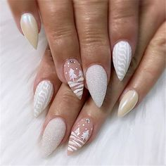 If you are getting ready for the holidays by painting a winter wonderland on your nails, these Cutest Christmas Nail Art DIY Ideas will surely give you a cheerful Christmas season this year. Cute Christmas Nails, Christmas Nail Art Designs, Xmas Nails, Holiday Nails, White Christmas, Xmas Nail Art, Beautiful Nail Designs, White Nail Designs, Nail Swag