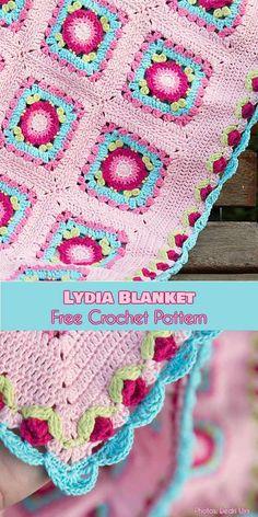 Lydia Blanket Free Crochet Pattern #freecrochetpatterns #crochetblanket #babyblanket #crochetflowers
