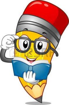 Mascot Ilustraci�n de un l�piz que lee un libro photo
