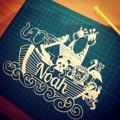 Personalised handcut Noah's ark by PapFabCrafts on Etsy