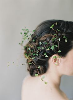 Fairytale vines in your wedding hair.  Photographer Jen Huang Studio Mondine Florals Braided updo by Aimee Artistry
