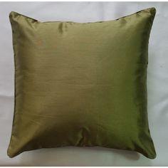Faux Silk One Colour Design Cushion Cover - Soft Olive (43cm x 43cm) - Mode Alive - Home Decor Heaven