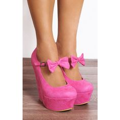 Shoe Closet Pink Faux Suede Bows Wedged Platforms Wedges Court Shoes ($44) ❤ liked on Polyvore featuring shoes, pumps, pink, wedge heel shoes, pink platform pumps, wedge pumps, bow pumps and wedge heel pumps