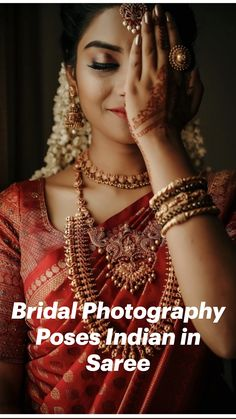 South Indian Bride Jewellery, South Indian Wedding Saree, Indian Bridal Photos, Indian Bridal Fashion, Bridal Jewellery, South Indian Makeup, Saree Jewellery, Wedding Sarees, Desi Wedding