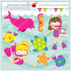 Snorkeling Fun Girls  - adorable graphics for scrapbooking, card making, web design and more.