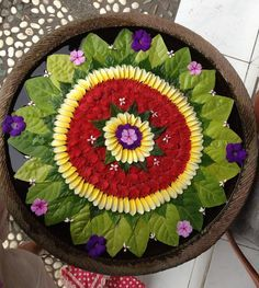 flowers arranged in bowl of water- traditional decoration for auspiciousness - loved & pinned by www.omved.com