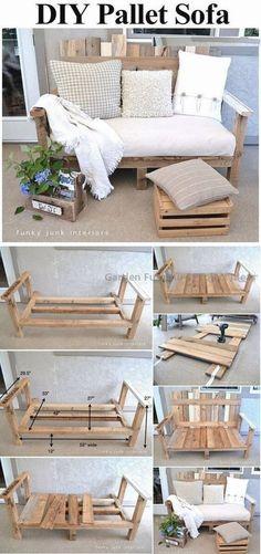 Pallet Furniture Diy Sofa Spaces 56 Ideas For 2019 Diy Furniture Hacks, Diy Garden Furniture, Diy Outdoor Furniture, Couch Furniture, Furniture Makeover, Furniture Design, Rustic Furniture, Antique Furniture, Modern Furniture