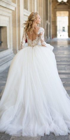 wedding dress designers ball gown v back with long sleeves lace floral pronovias wedding dress desig Pronovias Wedding Dress, Elegant Wedding Gowns, Princess Wedding Dresses, Long Wedding Dresses, Perfect Wedding Dress, Designer Wedding Dresses, Bridal Dresses, Ball Gowns, Bride