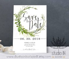 Green foliage save the date card, woodland wedding, greenery save the date, woodland wedding, outdoor wedding, green leaves save the date  This is a printable item for easy, affordable, and beautiful at-home printing. I customize the card with your information for you and then you