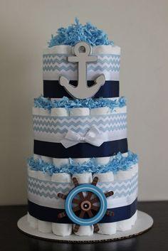 Tarta de pañales estilo marinero de manualidades Baby Shower para niños