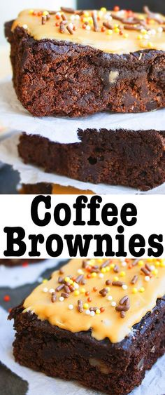 easy COFFEE BROWNIES recipe is made from scratch. These mocha brownies with coffee glaze are rich and fudgy and loaded with chocolate and brewed coffee. Mini Desserts, Sweet Desserts, Easy Desserts, Delicious Desserts, Yummy Food, Best Dessert Recipes, Coffee Recipes, Sweet Recipes, Cake Recipes