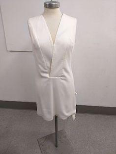 Misha Nonoo Emmi Dress Size 8 NWT New Runway Medium White Front Pocket Pouch