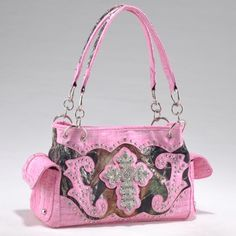 Buy LICENSED Studded Camo Shoulder Bag with Rhinestone Cross Hangbag MO/PK - and find your ideal Women Shoulder Bags at affordable prices and fast shipping. Camo Bridesmaid Dresses, Fashion Bags, Fashion Accessories, Fashion Handbags, Women's Fashion, Cross Purses, Western Purses, Cowgirl Bling, Shoulder Handbags