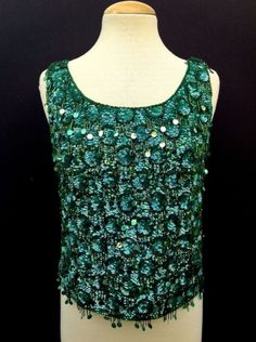 VINTAGE-60S-SLEEVELESS-GREEN-PIN-UP-BEADED-SEQUIN-COCKTAIL-HOLIDAY-EVENING-TOP