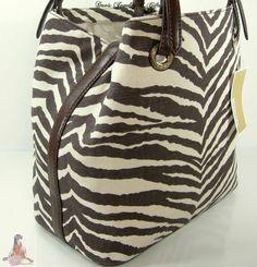8d5610d47dd Michael Kors Purse Tote Large Zebra Tiger Brown Beige Jet Set Grab Hand Bag    eBay