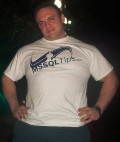 Daniel Farina showing off his new MSSQLTips.com t-shirt