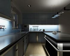 LED lights have become popular in many commercial applications. With recent advances and prices falling, they might be something that you'll want to consider in your kitchen and outdoors. What's a LED Lights? Under Counter Lighting, Under Cabinet Lighting, Kitchen Lighting, Cabinet Lights, Big Kitchen, Kitchen Cupboards, Kitchen Design, Kitchen Tops, Upper Cabinets