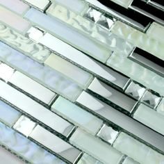 Stainless steel tile backsplash kitchen glass tiles glass mosaic bathroom tiles - modern - bathroom tile - other metro - by My Building Shop...