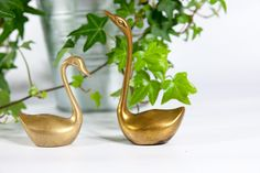 Vintage brass swan figurines set, swan figurines, vintage figurines, vintage brass figurines, small bird statue, swan statue, brass statue by VintageEuropeDesign on Etsy