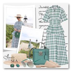 """""""Jewels of the Sea"""" by brendariley-1 ❤ liked on Polyvore featuring Rosie Assoulin, Janessa Leone, Mark Cross, Mansur Gavriel, Linda Farrow and Napier"""