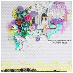 Hello, Pastel Mixed Media Layout by Steph Devlin for Prima! www.prima.typepad.com