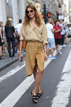 Pin for Later: #TBT: See All the Best Street Style From NYFW Last Season NYFW Street Style Day 4 If you're going to wear suede in a heat wave, at least have a slit.