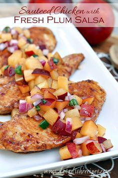 Sauteed Chicken with Fresh Plum Salsa Recipe This delicious, light chicken dinner is ready in under 30 minutes! Fruit Recipes, Gourmet Recipes, Chicken Recipes, Cooking Recipes, Healthy Recipes, Turkey Recipes, Tapenade, Easy Meal Plans, Easy Meals